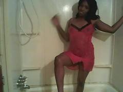 black chic showering Thumb