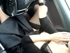 Playing with tits while driving my car Thumb
