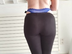 Walking in see thru yoga pants with wedgie blue thong. Thumb