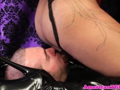 Dominating tgirl blown by caged submissive Thumb