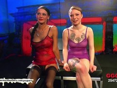 Blonde and brunette babes Fucked and glazed side by side - German Goo Girls Thumb