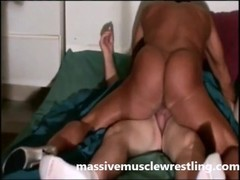 Body Builder Debra Dominating while Fucking poor guy in massive muscle wrestling Thumb