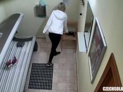 Blonde Teen Cought on Hidden Cam in Public Solarium Thumb
