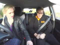Fake Driving School Sexy busty posh blonde examiner sucks and fucks in car Thumb