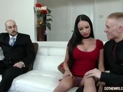 Beautiful brunette wife Raven Bay fucks in front of husband Thumb