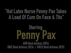 Hot Latex Nurse Penny Pax Takes A Load Of Cum On Face & Tits Thumb