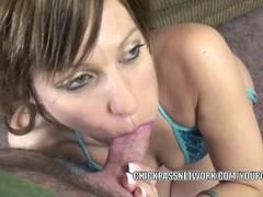 Petite housewife Brandi Minx is swallowing a stiff cock Thumb