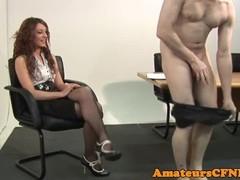 Teasing CFNM babe rides slaves cock Thumb