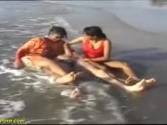 threesome indian beach fun Thumb