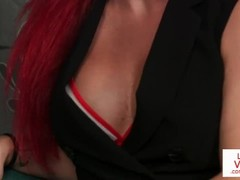 Redheaded british voyeur instructs sub to tug Thumb