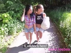 Lesbea Best friends outdoor shaved pussy eating in public Thumb