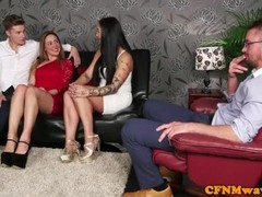Glamorous cfnm dom tugging sub in group Thumb