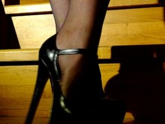Blonde in high heels, stretches pussy with piercings Thumb