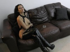 SMOKING IN LEATHER BOOTS AND OUTFIT - Cassie Clarke Thumb