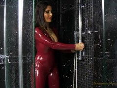 Red Latex Catsuit Thumb