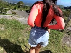 Risky public masturbation on rental motorbike in mountain with sexy girl Thumb