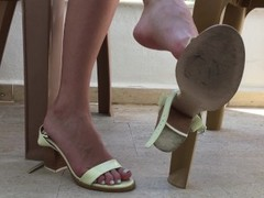 Feet And Pussy Showing. She Plays With Feet And Pussy On A Public Balcony Thumb