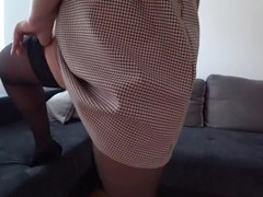 Sex in stockings and through red panties Thumb