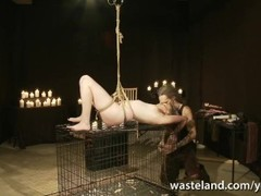 Short Blonde Haired Submissive Bound Over Cage For Blowjob Thumb