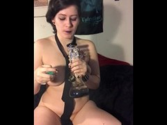 Big titty goth girl smokes weed and fucks herself until she squirts Thumb