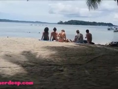 Ameteur Tiny Thai Teen Heather Deep day at the beach gives deepthroat Throatpie Swallow Thumb