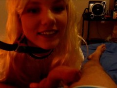 Petite Blonde Teen is sucking a dick then fucking in Doggystyle Thumb