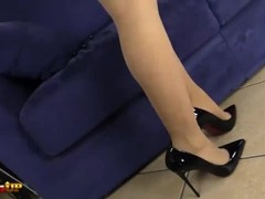 Tan pantyhose footjob by Irina Vega Thumb