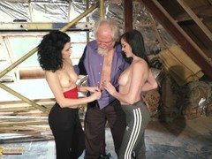 Kiara and Mia both fuck an old man and share his cum after a hot fuck Thumb
