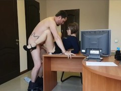 Real Secretary fucks and cums on big dick of her boss at the office table Thumb