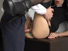 Anal Creampie For Sexy Secretary, Boss Fucked Her Tight Pussy And Ass! Thumb