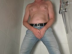 Pissing in my jeans, man desperate to pee. Clothing peeing. Thumb