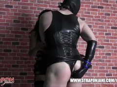 Femdom Strapon Jane dominates and fucks tight leather fetish TGirls horny wet pussy Thumb