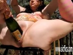 Double fisting and XXL champagne bottle fucked BBW Thumb