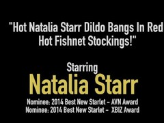 Hot Natalia Starr Dildo Bangs In Red Hot Fishnet Stockings! Thumb