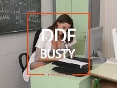 Janitor Bangs Busty Babes Sensual Jane & Kyra Hot During Learning Break Thumb