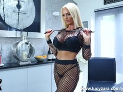 Mistress Lucy Zara in kinky fishnets whips and ruins her pathetic old slave in his last bondage sess Thumb