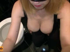 Blonde sucks cock in toilet - Close up cum in mouth, Amateur Blowjob POV Thumb