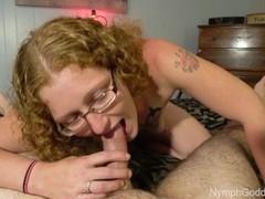 Natural Redhead Milf Ivy giving a sensual blowjob with two cum shots! Thumb