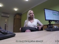 LOAN4K. Blonde lassie gives herself to agent in office in loan porn Thumb