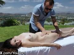 EroticaX 19yo Teen Rides on Massage Table in the Sun Thumb