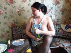 vegetables and cream eat big ass busty milf. farting Thumb