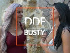 Big Titty Milfs Romi Rain & Nina Elle Deepthroat & Eat Pussy in Threesome Thumb