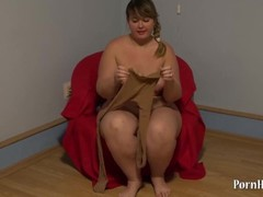 cute fatty in pantyhose and hairy pussy, handjob Thumb