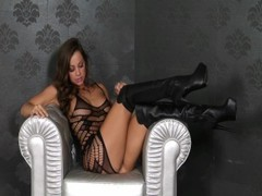 Hot Brunette Abigail Mac Uses Vibrator On Her Tight Pussy Thumb