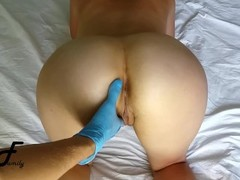 You are fucking my pussy with fingers, hands in blue gloves in wet pussy Thumb