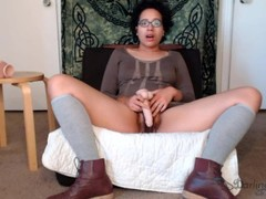 Hairy upskirt dildo fuck and vibrator squirt while fully dressed Thumb