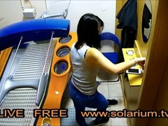 Horny Girl playing Pussy und Masturbation on real Public Solarium Thumb