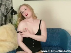 Blonde cutie Satine Spark rips open seam free nylon pantyhose to masturbate with dildo toy Thumb