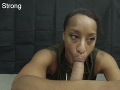 HOT ebony amateur milf learning to suck dick like a pornstar Thumb