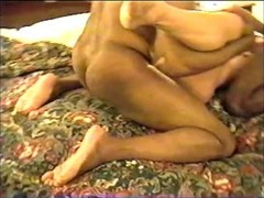 Mature Blonde wife Fucking and sucking two Big Black cocks in Motel Thumb